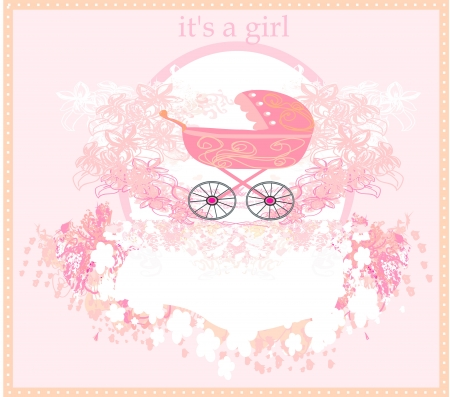Baby arrival card for girl  Vector