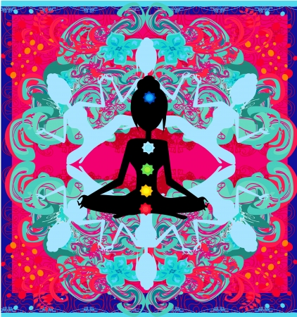 Yoga lotus pose. Padmasana with colored chakra points. Stock Vector - 19800998