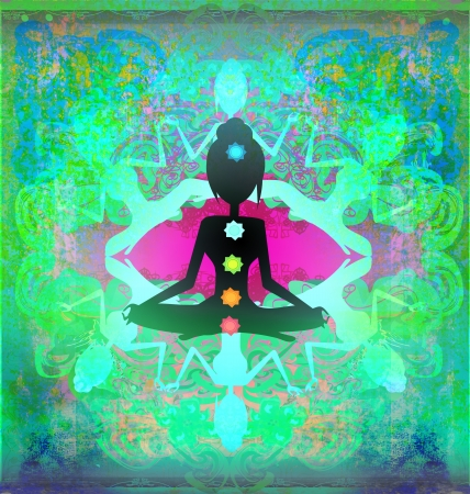 Yoga lotus pose. Padmasana with colored chakra points.  Stock Photo - 19801017