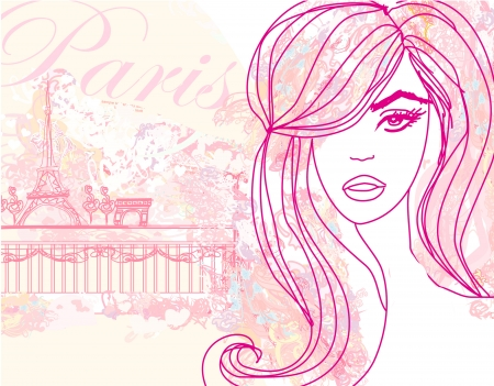 beautiful women Shopping in Paris card  Vector