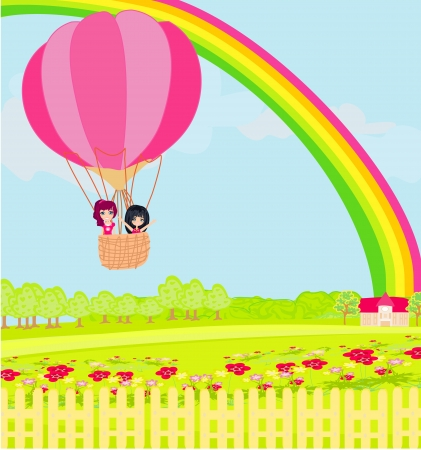 kids in an air balloon and beautiful country landscape  Vector