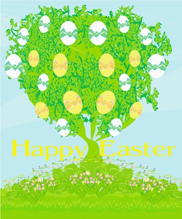 Easter tree card Vector
