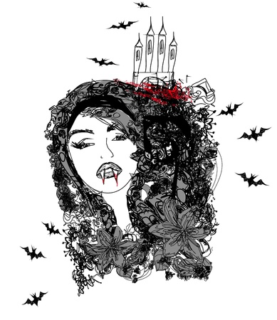 abstract portrait of a beautiful female vampire Vector