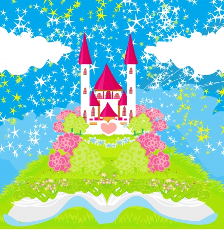 Magic world of tales, fairy castle appearing from the book Stock Vector - 19981425