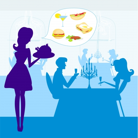 Waitress serving a chicken  Vector