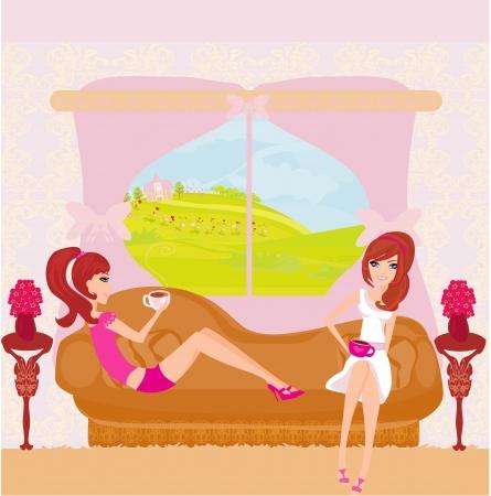 break in: lindas chicas bonitas en pausa para el caf? Vectores
