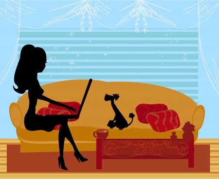 オンライン ショッピング - 若い女性のラップトップ コンピューターで座っている笑顔 写真素材 - 19981459
