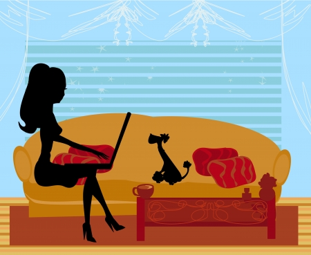 laptop home: Online shopping - young smiling woman sitting with laptop computer  Illustration