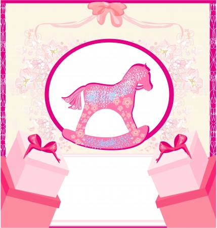 Rocking Horses - baby girl baby shower invitation card Vector