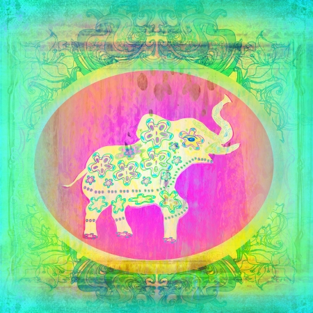 Vintage Indian ornament with an elephant