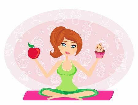 woman eat: Chica elegir entre una manzana y una magdalena Vectores