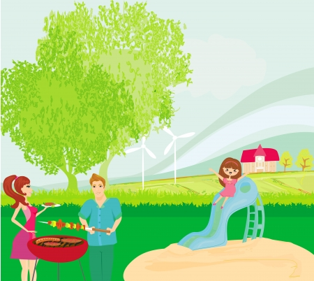 vector illustration of a family having a picnic Vector