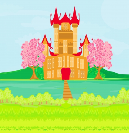 brown princess castle on the river Stock Vector - 20194391