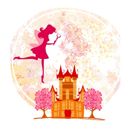 fairy flying above castle ,abstract background Stock Vector - 20194394