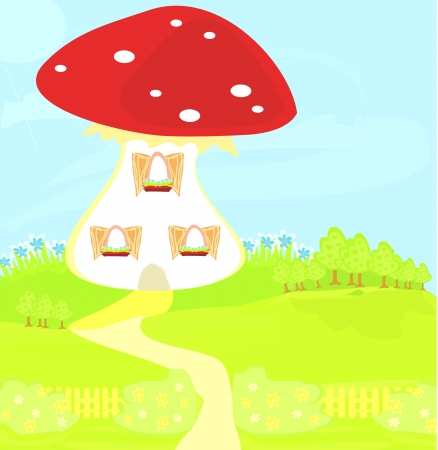 funny cartoon mushroom house Stock Vector - 20194390