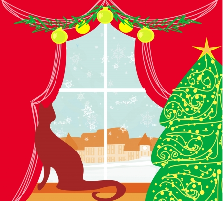 Christmas tree and cat at window Stock Vector - 20194400