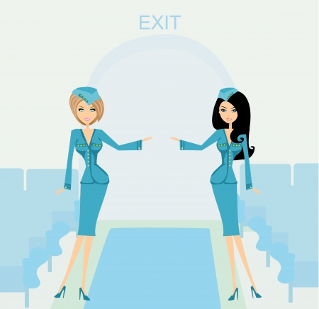 Two beautiful stewardess in blue uniforms inside an airliner passenger cabin