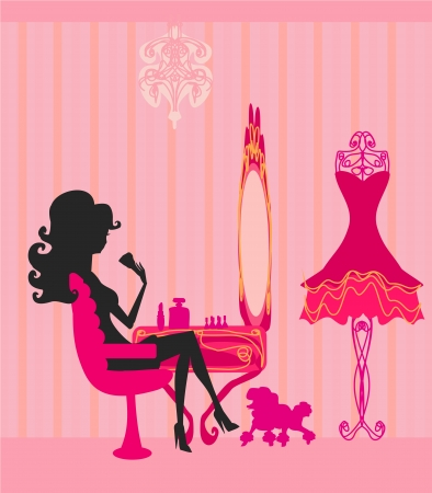woman in mirror: make up at home , silhouettes vector illustration
