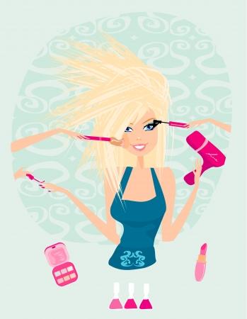 Make-up girl , cosmetics set Vector