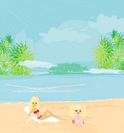 tropical beach panoramic: young mother and her daughter at beach  Illustration