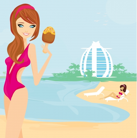 beautiful girl on vacation Vector