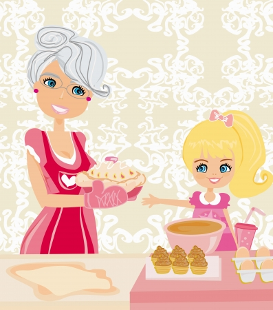 Grandma baking cookies with her granddaughter Vector