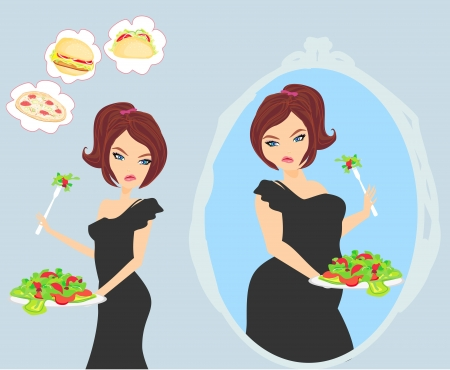 slim women: unhappy girl is looking at herself in the mirror Illustration