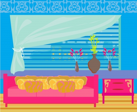 Fashionable interior of living room - vector  Stock Vector - 20194428