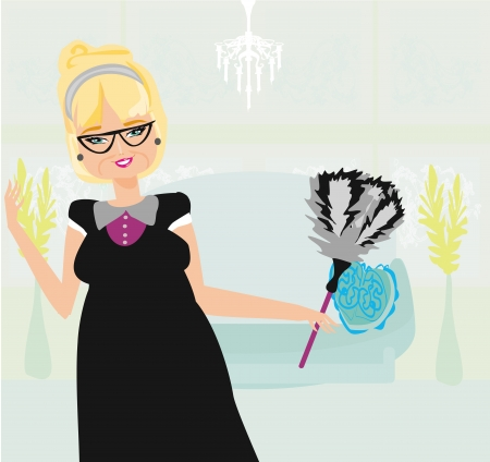 old lady cleans the apartment Vector