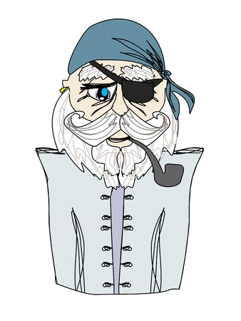 retire: Old pirate captain , doodle portrait