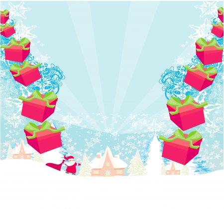 santa claus with gift abstract illustration  Vector