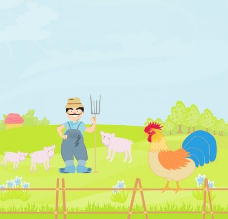 bumpkin:  Cartoon Farmer Character  Stock Photo