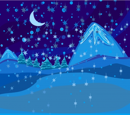 wintry: Beautiful wintry landscape with night sky, mountains and light moon  Stock Photo
