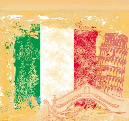 grunge background symbols of italy - gondola and Pisa tower Stock Photo - 20415603