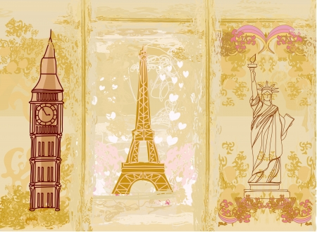 travel design element with different monuments  photo