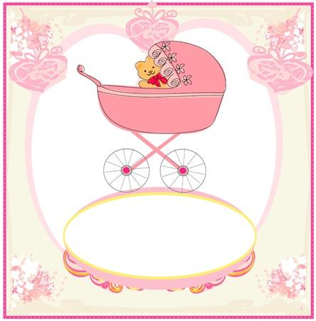invitacion baby shower: gracioso osito de peluche en coche, tarjeta de aviso del beb� Foto de archivo