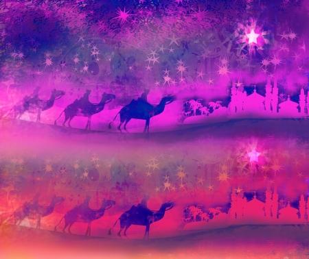 Classic three magic scene and shining star of Bethlehem  스톡 콘텐츠