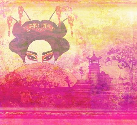 Abstract Beautiful geisha Portrait  photo