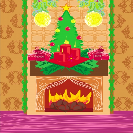 Christmas room with fireplace Stock Photo - 20478276