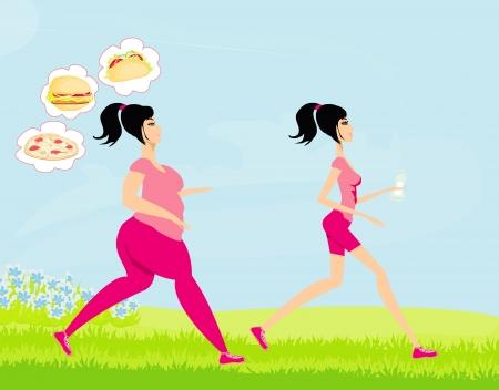 ni�a gorda: Mujer joven que activa, ni�a de los sue�os de grasa de una alimentaci�n poco saludable, ni�a bebe agua mineral flaco