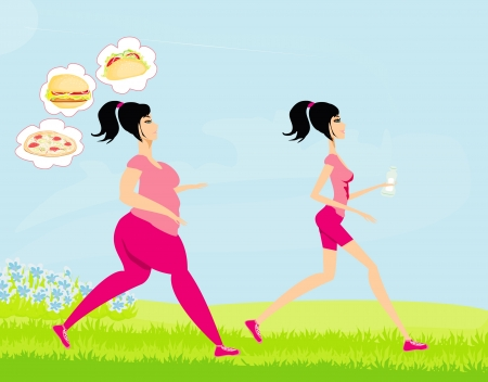 duffle: Young woman jogging,fat girl dreams of unhealthy eating, skinny girl drinks mineral water Stock Photo