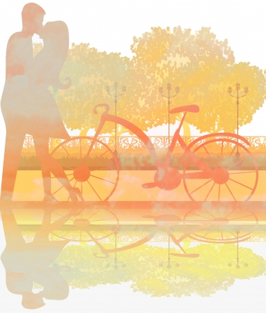 sillhouette of sweet young couple in love standing in the park  photo
