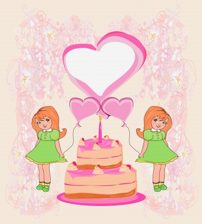 birthday invitation,girl holding balloons and a birthday cake with candles Stock Photo