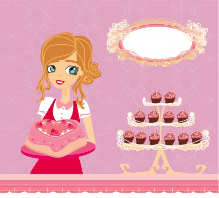 saleswoman: beautiful saleswoman in a bakery  Illustration