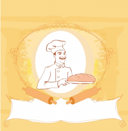 freshly: baker cartoon character presenting freshly baked bread