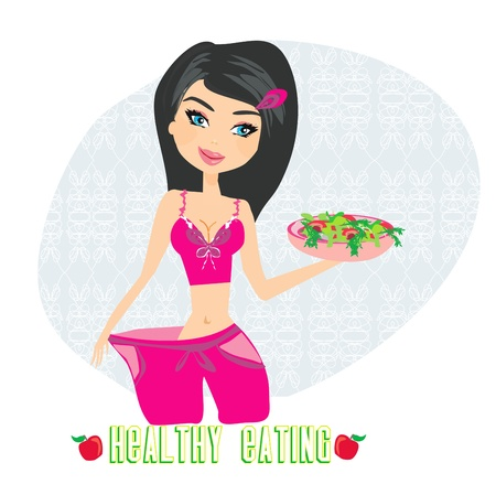 a young woman in a large pants after diet  イラスト・ベクター素材