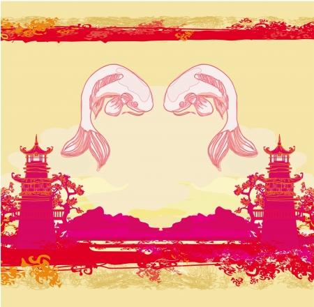 koy carp:  japanese koi and ancient building background