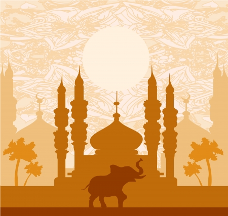 India background,elephant, building and palm trees Vector