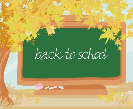 green chalkboard with autumn leaves Vector