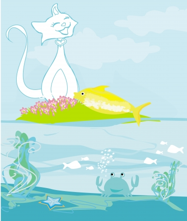 lucky cat with gold fish  Stock Vector - 20884285
